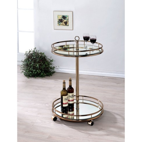 ioHomes Opalle Round Mirrored Serving Cart Metal/Champagne - image 1 of 2