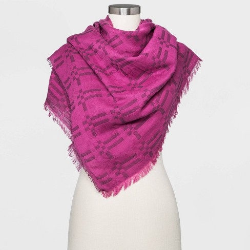 Women's Plaid Oversized Double Weave Square Scarf - Universal Thread™ Purple One Size - image 1 of 4