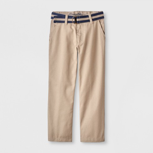 Eddie Bauer Boys' Twill Uniform Chino Pants with Belt - image 1 of 1