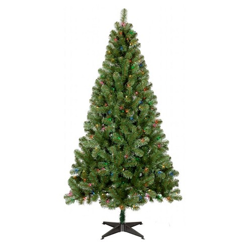 6ft Prelit Artificial Christmas Tree Alberta Spruce Multicolored Lights Wonder