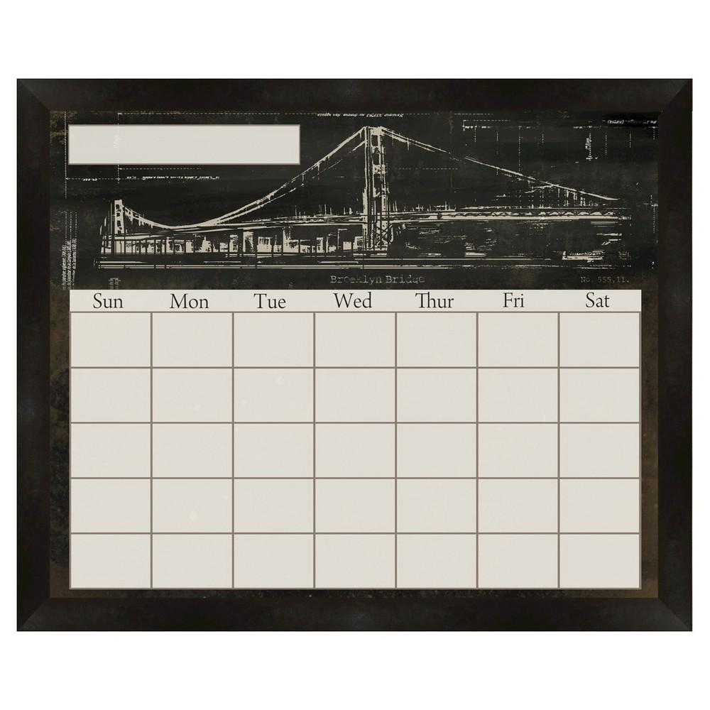 Brooklyn Bridge Decorative Calendar Memoboard - Black, Blck/White