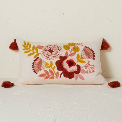 Embroidered Floral Lumbar Throw Pillow Blush - Opalhouse™ designed with Jungalow™