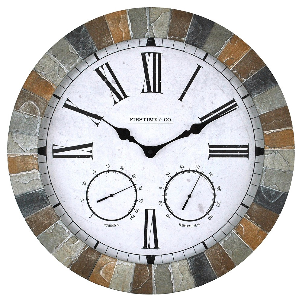 "Image of ""18"""" FirsTime Garden Stone Wall Clock - Multi Color"""