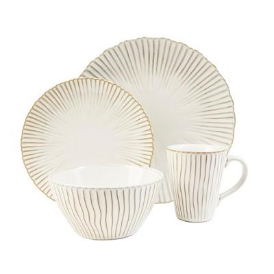 16pc Stoneware Portura Dinnerware Set White/Brown - Sango