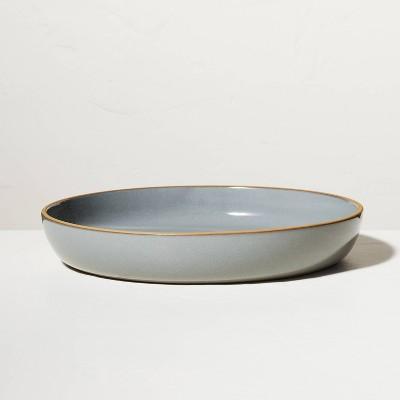 Stoneware Exposed Rim Shallow Serve Bowl Gray - Hearth & Hand™ with Magnolia