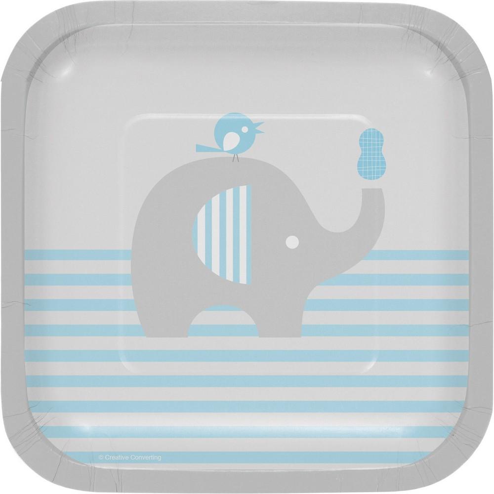 24ct Little Peanut Boy Elephant Dessert Plates Blue