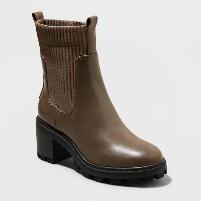 Women's Natasha Lug Soled Sock Boots - A New Day™ Taupe