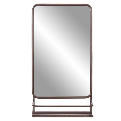 "16""x30"" Metal Wall Accent Mirror with Shelf Bronze - Patton Wall Decor"