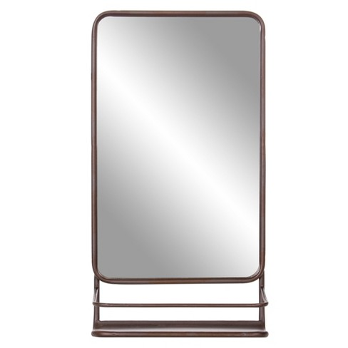 "16""x30"" Metal Wall Accent Mirror with Shelf Bronze - Patton Wall Decor - image 1 of 5"