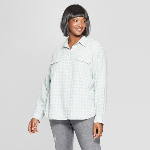 941b1dd7 Women's Plus Size Long Sleeve Flannel Shirt - Universal Thread™ Green