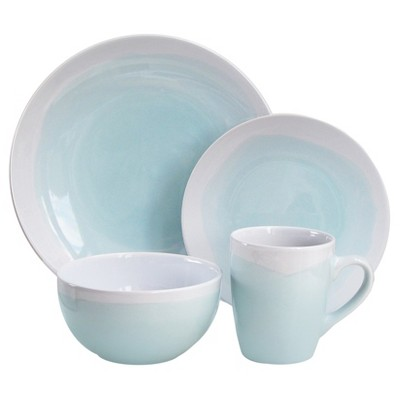 16pc Stoneware Two-Tone Dinnerware Set White/Green - American Atelier