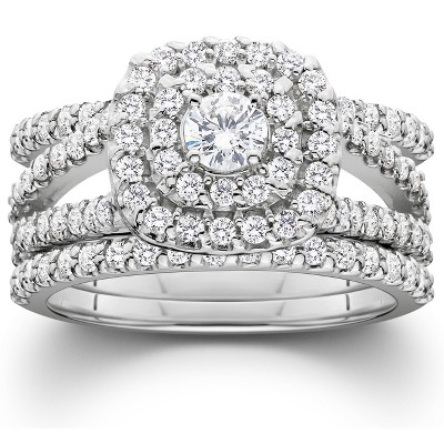 Pompeii3 1 1/4 Ct Three Ring Diamond Cushion Halo Engagement Wedding Band Set White Gold