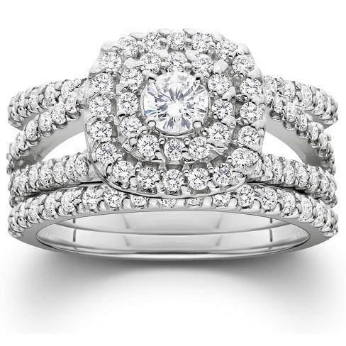 Pompeii3 1 1/4 Ct Three Ring Diamond Cushion Halo Engagement Wedding Band Set White Gold - image 1 of 4