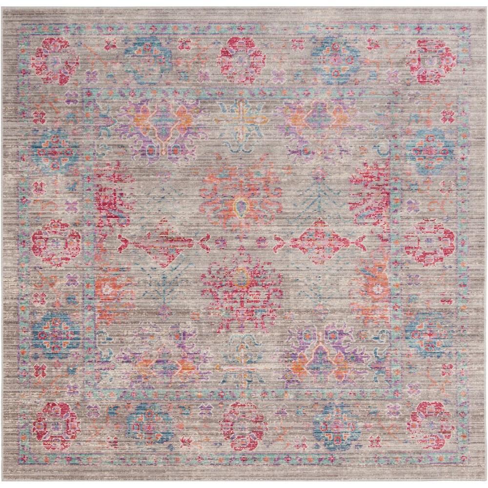 6'X6' Shapes Loomed Square Area Rug Gray/Fuchsia (Gray/Pink) - Safavieh