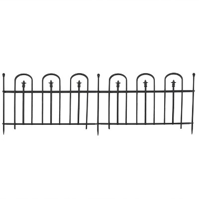 Sunnydaze Outdoor Lawn and Garden Metal Strasbourg Style Decorative Border Fence Panel and Posts Set - 6' - Black - 5pc