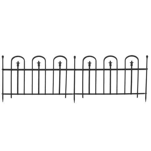 Sunnydaze Outdoor Lawn and Garden Metal Strasbourg Style Decorative Border Fence Panel and Posts Set - 6' - Black - 5pc - image 1 of 4
