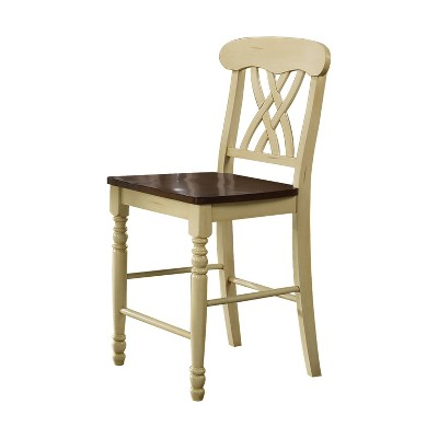 Set Of 2 Dylan Counter Height Dining Chair Wood Buttermilk Oak Acme Furniture Target