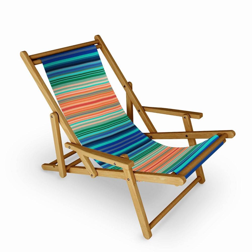 Sheila Wenzel Ganny Bold Stripes Sling Chair Blue Orange Deny Designs