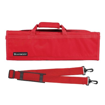 Messermeister Heavy Duty 8 Pocket Padded Nylon Knife Culinary Roll Up Luggage Case with Large Pocket, Red