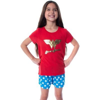 DC Comics Girls' Wonder Woman Gold Foil Logo Shirt and Shorts Pajama Set