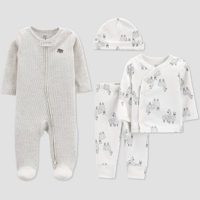 Baby 4pc Llama Layette Set - Just One You® made by carter's White/Gray