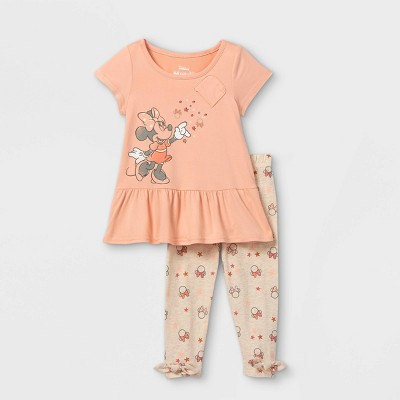 Toddler Girls' Minnie Mouse Short Sleeve Top and Bottom Set - Pink