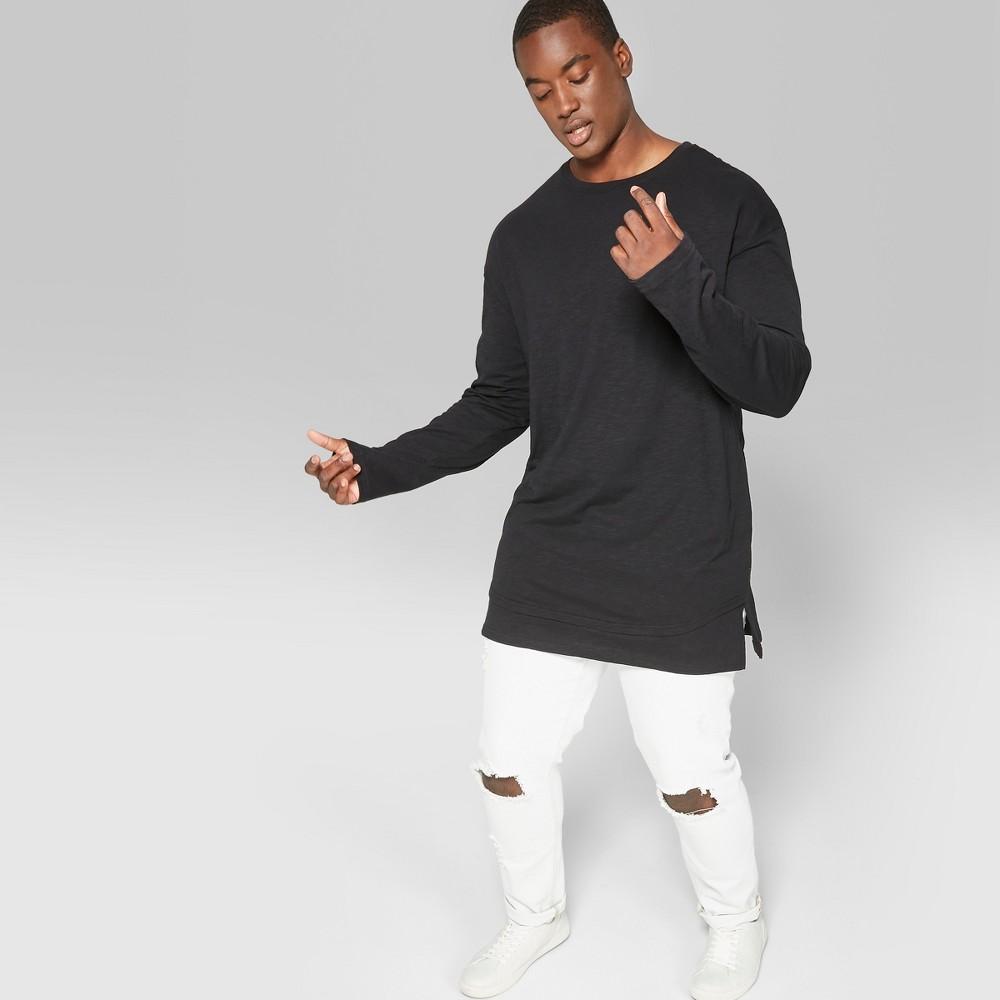 Men's Big & Tall Long Sleeve Layered Slub T-Shirt - Original Use Black 4XBT