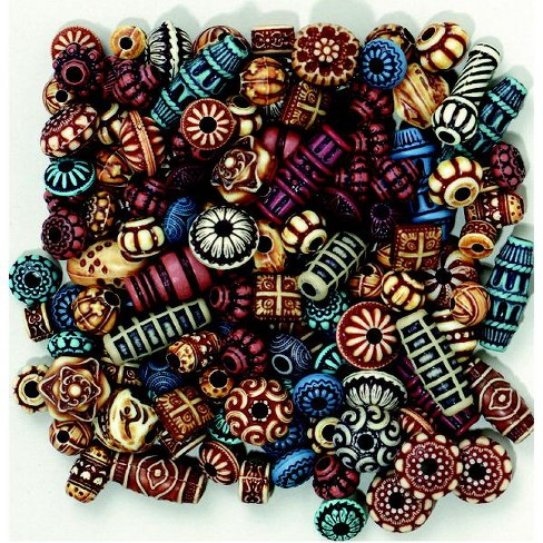 Creativity Street Plastic Carved Decorated Exotic Bead, Assorted Color, 4 oz - image 1 of 1