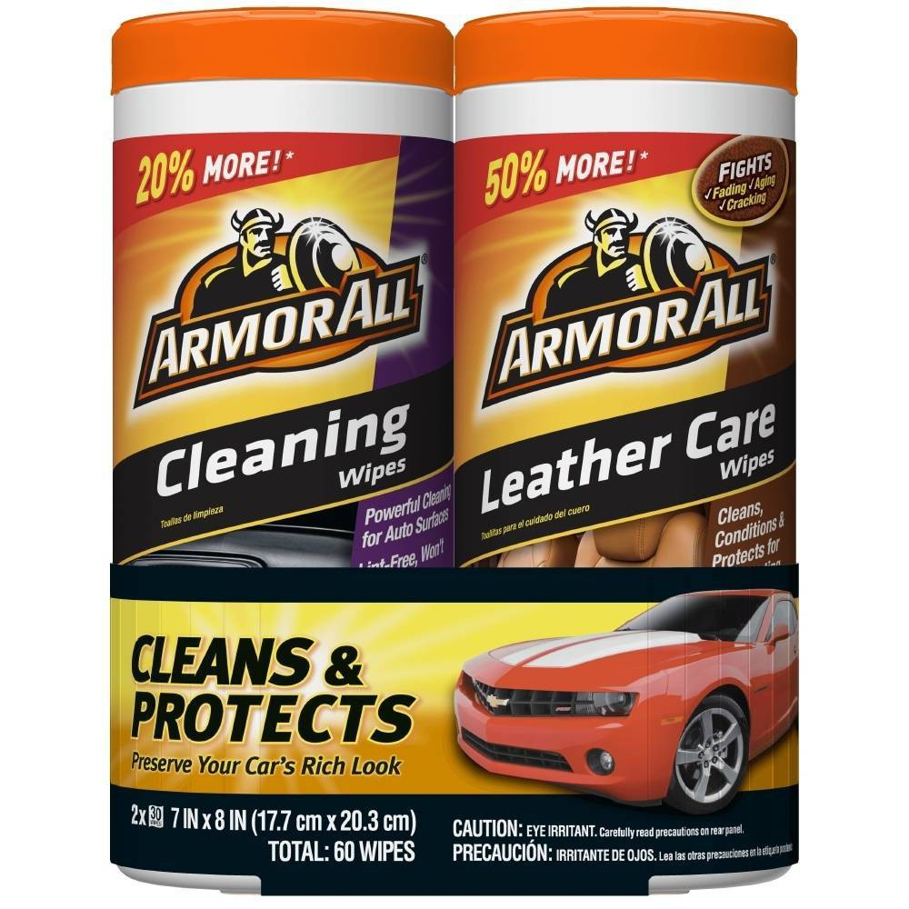 Armor All 2pk 30ct Cleaning Leather Wipes Automotive Interior Cleaner
