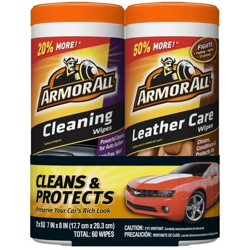 Armor All 2pk 30ct Cleaning/Leather Wipes Automotive Interior Cleaner - image 1 of 4