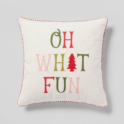 'Oh What Fun' Embroidered Square Throw Pillow Ivory - Threshold™