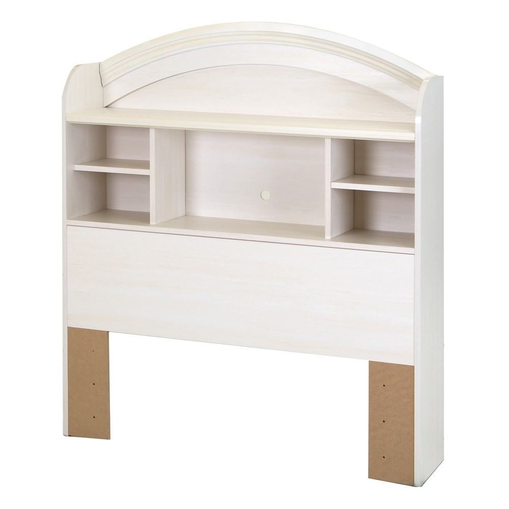 Image of Country Poetry Twin Bookcase Headboard - 39'' - White Wash - South Shore, Beige