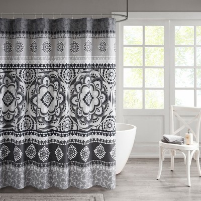Patsy Printed Shower Curtain Charcoal Shower Curtain Charcoal