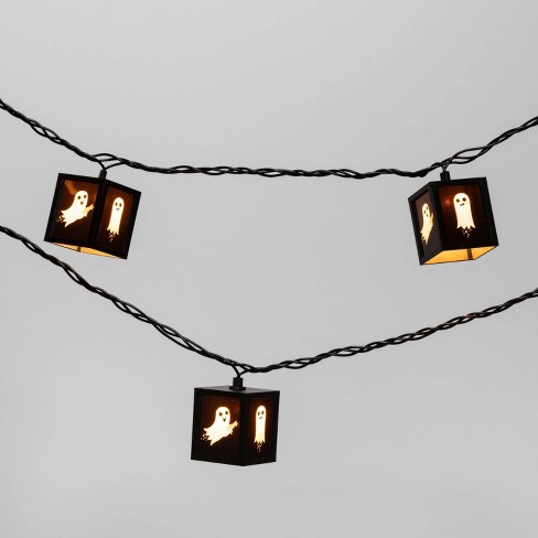 10ct Halloween Plastic Ghost Lantern Clear Bulb Novelty String Lights - Hyde & EEK! Boutique™ - image 1 of 3
