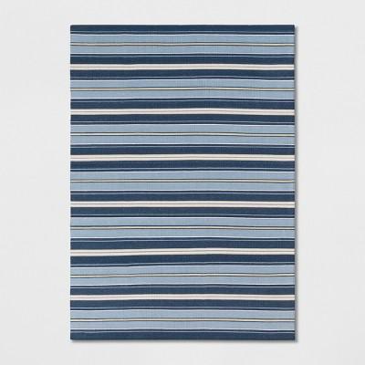 5'X7' Stripe Woven Area Rug Blue - Threshold™