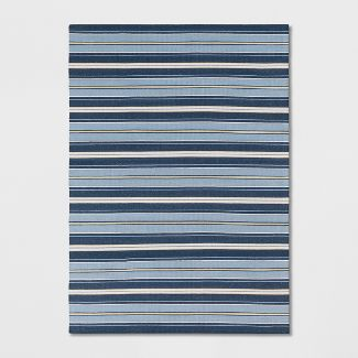 5'X7' Stripe Woven Area Rug Blue - Threshold™