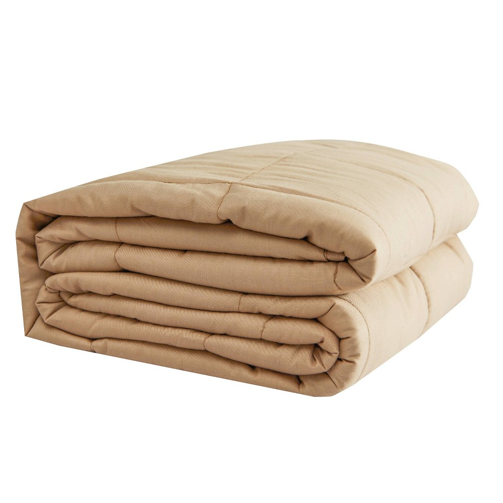 "Image of ""48"""" x 72"""" 20lbs Solid Cotton Weighted Bed Blanket Tan - Pur Serenity"""