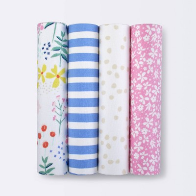Flannel Baby Blankets Wildflower 4pk - Cloud Island™ Pink/Blue