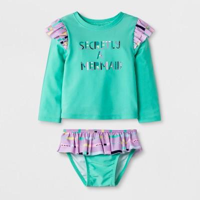Baby Girls' Long Sleeve 2pc Rash Guard Set - Cat & Jack™ Turquoise 12M