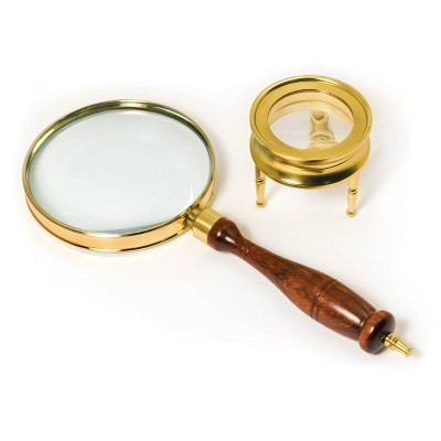 Barska Brass Magnifier Set with 90mm Hand-Held Magnifier and 40mm Table Magnifier
