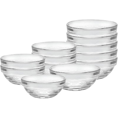 Duralex Lys Heavy Duty Durable Multi Purpose Stackable Nesting Clear Glass Food Prep Mixing Bowls, 12 Piece Set