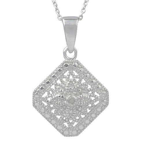 1/10 CT. T.W. Round-Cut Diamond Pave-Set Pendant Necklace in Sterling Silver - Silver - image 1 of 2