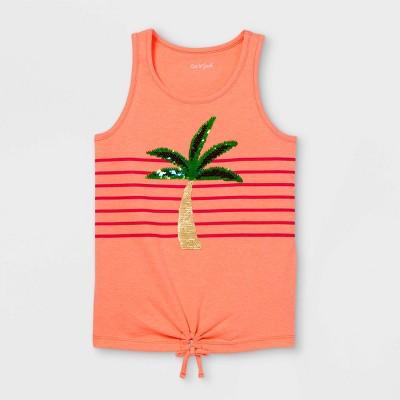 Girls' Palm Tree Flip Sequin Tank Top - Cat & Jack™ Neon Pink
