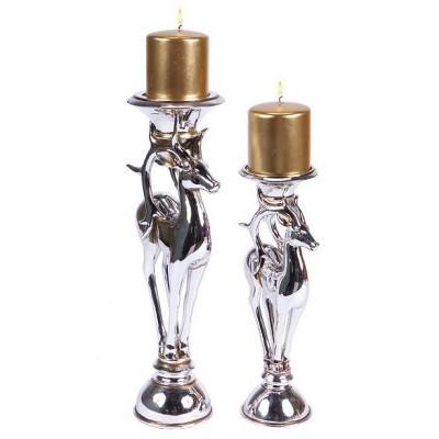 "Melrose Set of 2 Silver Reindeer Christmas Pillar Candle Holders 16"""