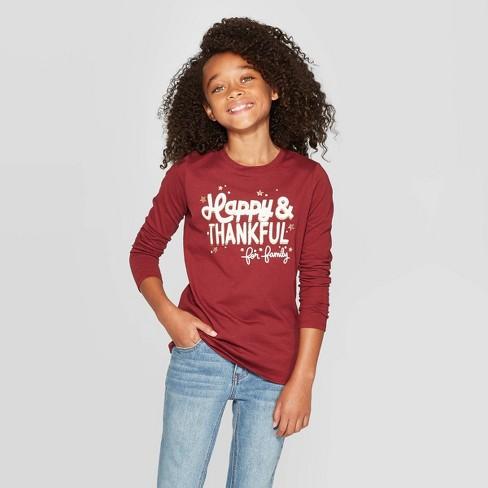 Girls' Long Sleeve Happy & Thankful Graphic T-Shirt - Cat & Jack™ Burgundy - image 1 of 3
