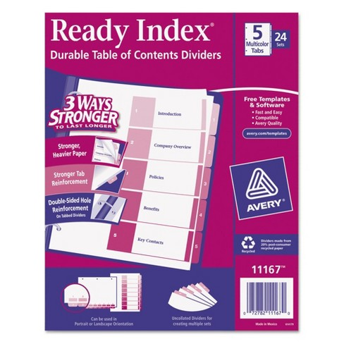 Avery® Ready Index Table/Contents Dividers, 5-Tab, Letter- Assorted (24 Sets per Box) - image 1 of 3