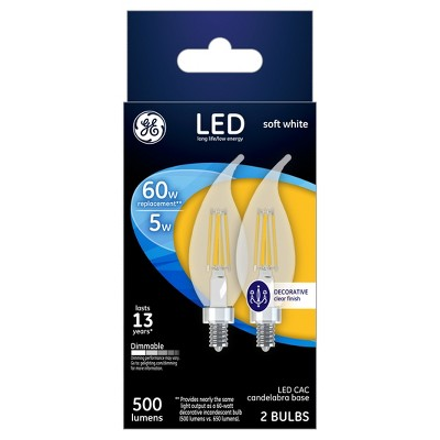General Electric LED 60w 2Pk CAC Chandelier Light Bulb White/Clear