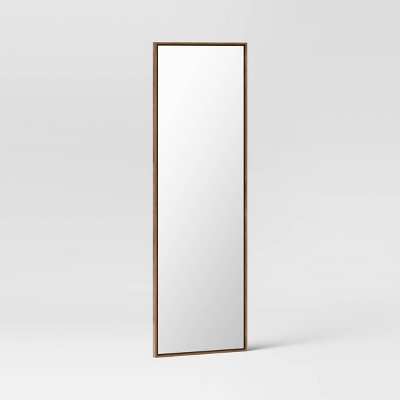 "20"" x 60"" Narrow Border Floating Walnut Recycled Floor Mirror - Project 62™"