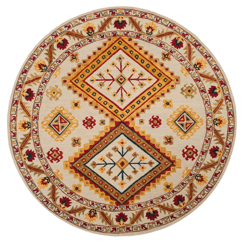 Tribal Design Tufted Round Area Rug 7' - Safavieh, White