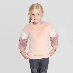 Toddler Girls' Faux Fur Pullover Sweater - art class™ Pink